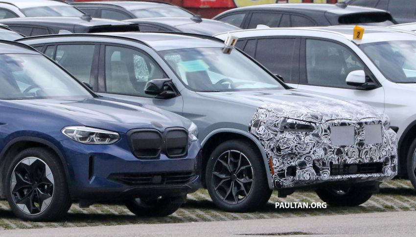 SPIED: G01 BMW X3 M40i facelift seen, with X4 mule Image #1189326