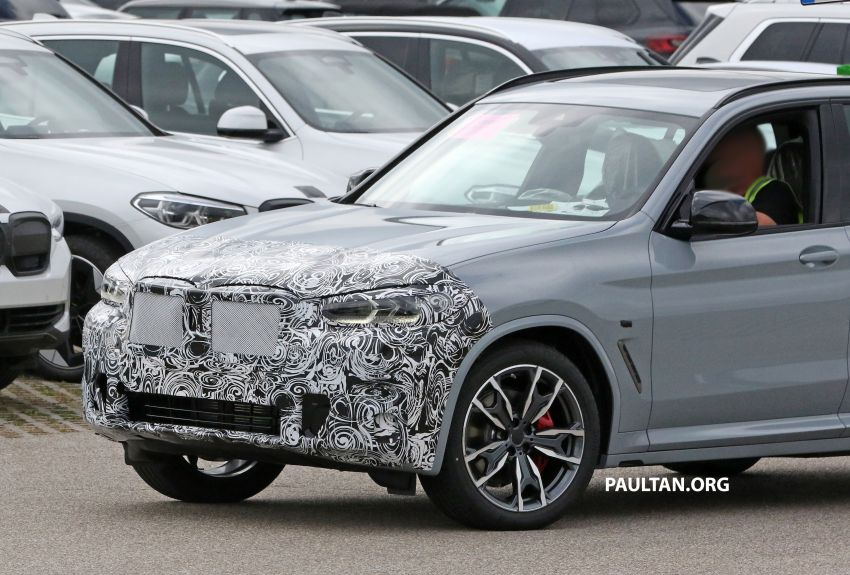 SPIED: G01 BMW X3 M40i facelift seen, with X4 mule Image #1189317