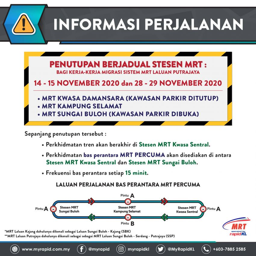 Three MRT stations to close this weekend for Putrajaya Line migration works, free shuttle bus fills in Image #1209427