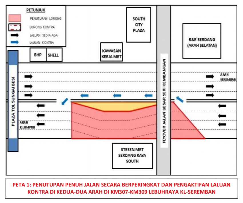 Full lane closures at KL-Seremban Highway near South City Plaza for MRT works, contra flow by stages Image #1240784