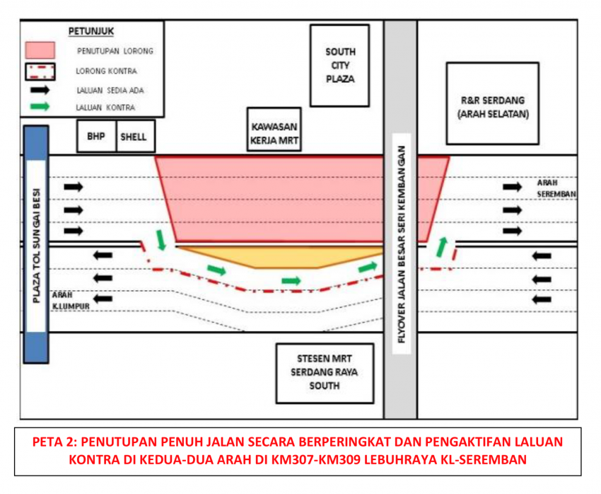 Full lane closures at KL-Seremban Highway near South City Plaza for MRT works, contra flow by stages Image #1240785