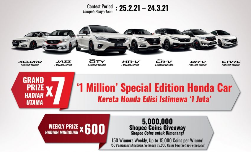 Honda Malaysia counts down to its 1 Millionth Unit – win one of seven special 1 Million Edition Honda cars! Image #1254090