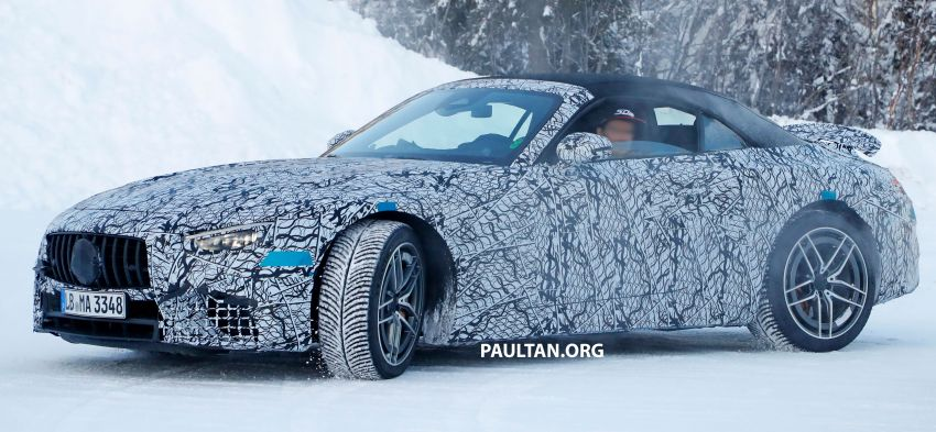SPYSHOTS: R232 Mercedes-AMG SL – six- and eight-cylinder versions seen running cold-weather tests Image #1250671