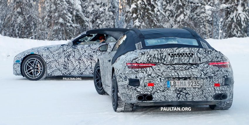 SPYSHOTS: R232 Mercedes-AMG SL – six- and eight-cylinder versions seen running cold-weather tests Image #1250672