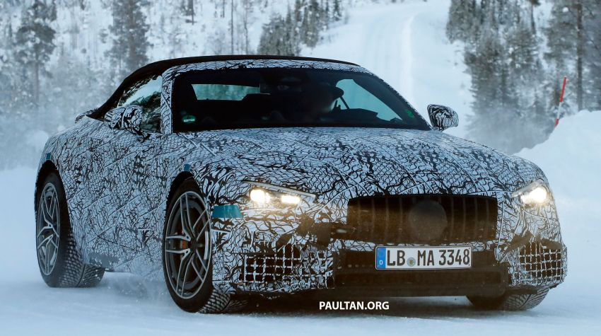 SPYSHOTS: R232 Mercedes-AMG SL – six- and eight-cylinder versions seen running cold-weather tests Image #1250691