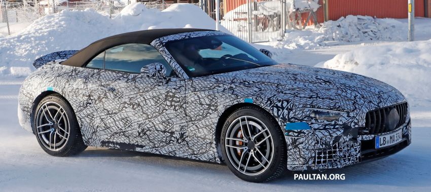 SPYSHOTS: R232 Mercedes-AMG SL – six- and eight-cylinder versions seen running cold-weather tests Image #1250702