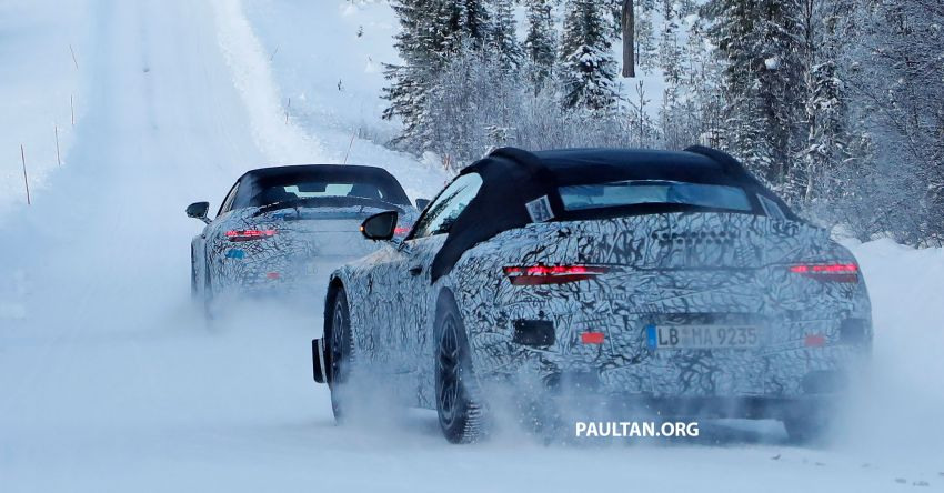 SPYSHOTS: R232 Mercedes-AMG SL – six- and eight-cylinder versions seen running cold-weather tests Image #1250677