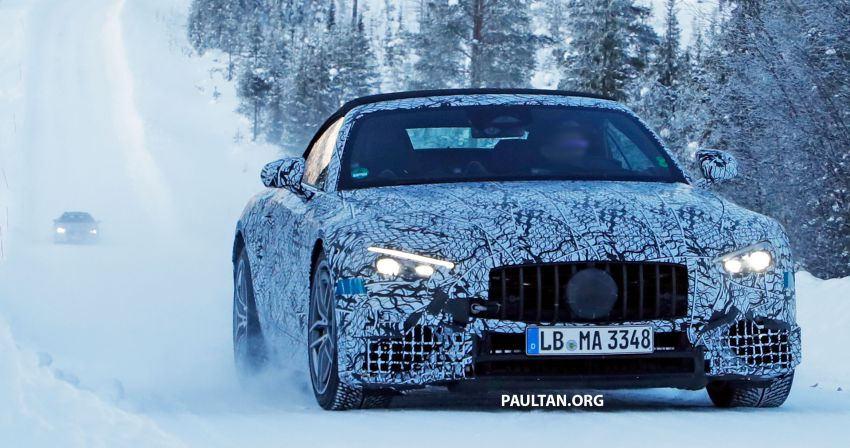 SPYSHOTS: R232 Mercedes-AMG SL – six- and eight-cylinder versions seen running cold-weather tests Image #1250678