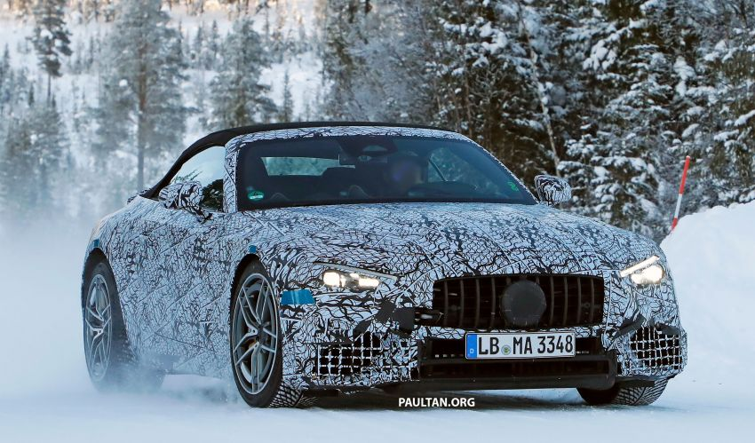 SPYSHOTS: R232 Mercedes-AMG SL – six- and eight-cylinder versions seen running cold-weather tests Image #1250679