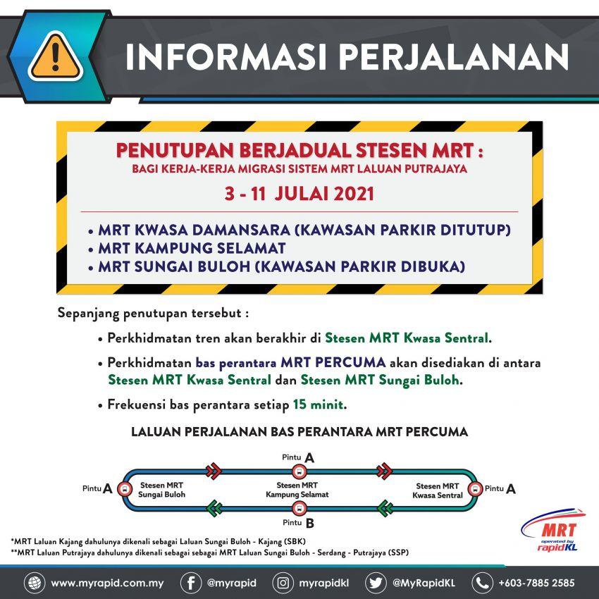Beberapa stesen MRT Laluan Kajang ditutup sementara pada 3-11 Julai – bas perantara disediakan Image #1312537