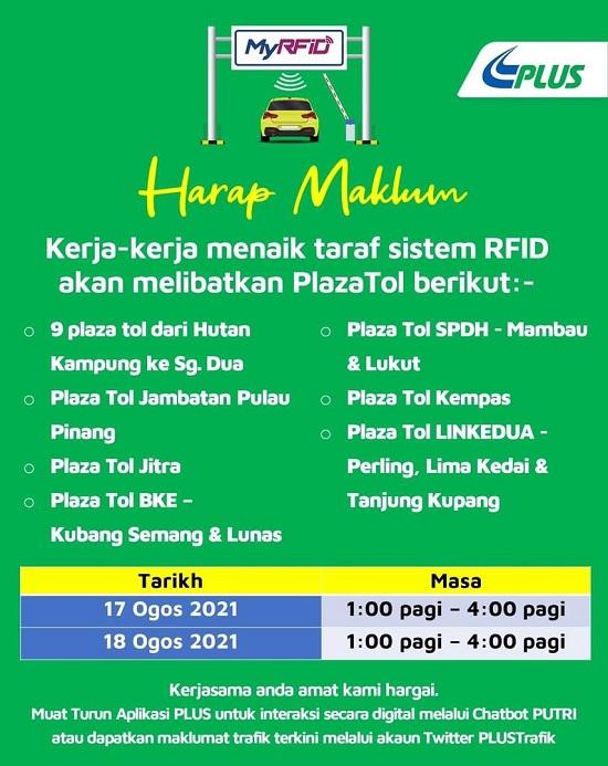 PLUS umum kerja penyelenggaraan sistem RFID pada 17-18 Ogos untuk beberapa plaza tol kendaliannya Image #1331047