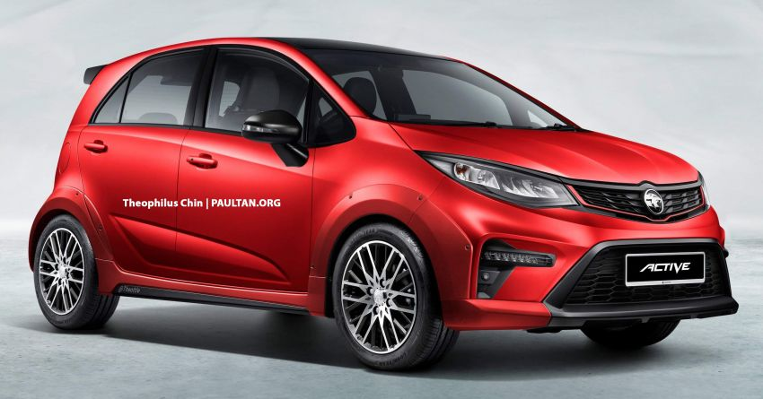 2022 Proton Iriz Active rendered with body-coloured fenders, bigger wheels, no roof rails – looks better? Image #1327325