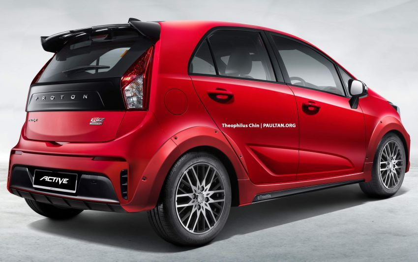 2022 Proton Iriz Active rendered with body-coloured fenders, bigger wheels, no roof rails – looks better? Image #1327324