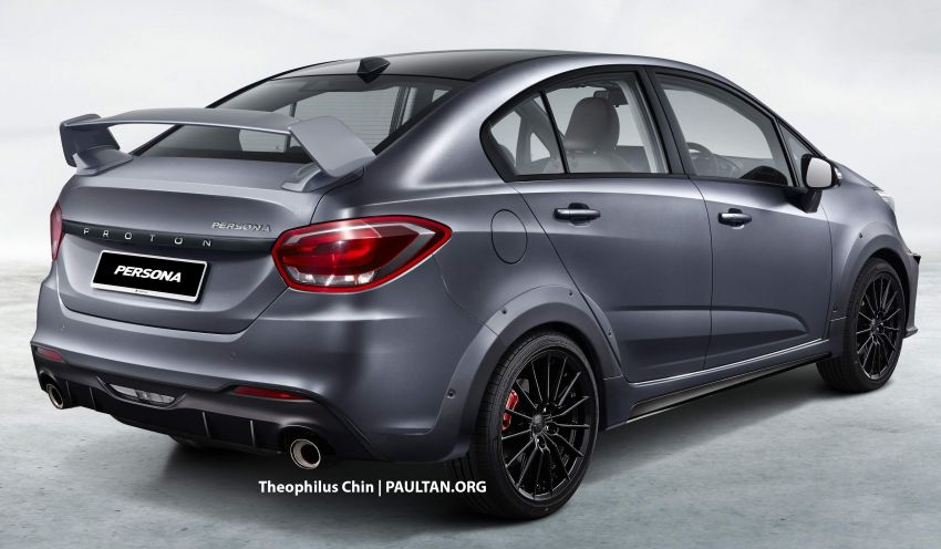 2022 Proton Persona rendered with a sporty body kit, bonnet scoop and huge rear wing – like what you see? Image #1333969