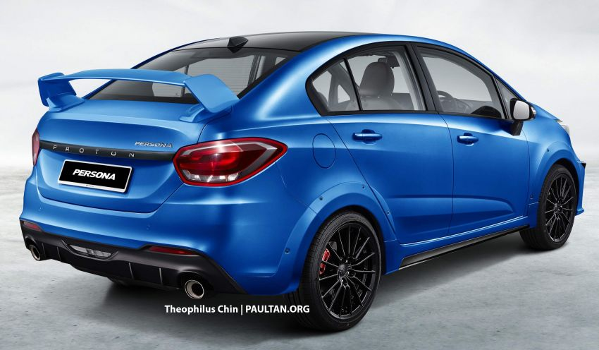 2022 Proton Persona rendered with a sporty body kit, bonnet scoop and huge rear wing – like what you see? Image #1333971