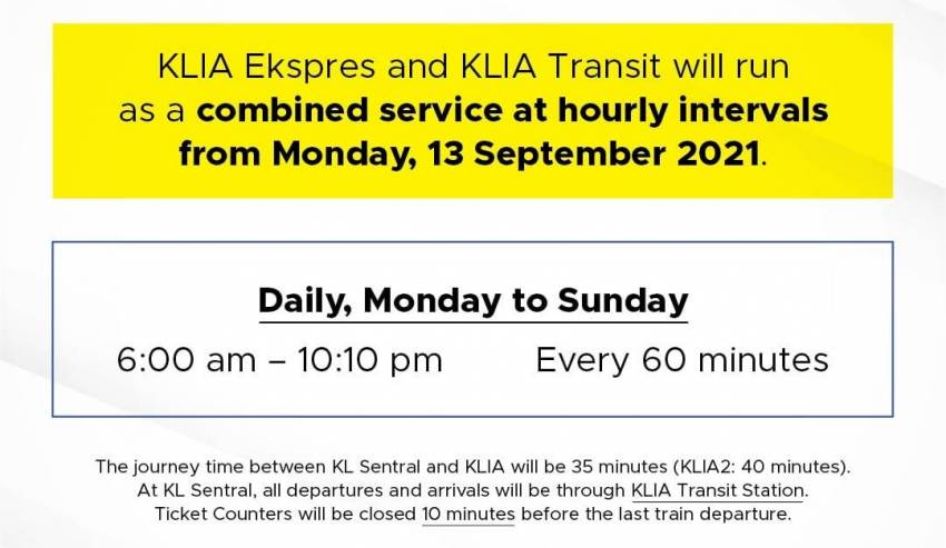 KLIA Ekspres and KLIA Transit is back – combined service to airport resumes on Sept 13, hourly interval Image #1345174