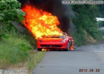 ferrari 458 on fire