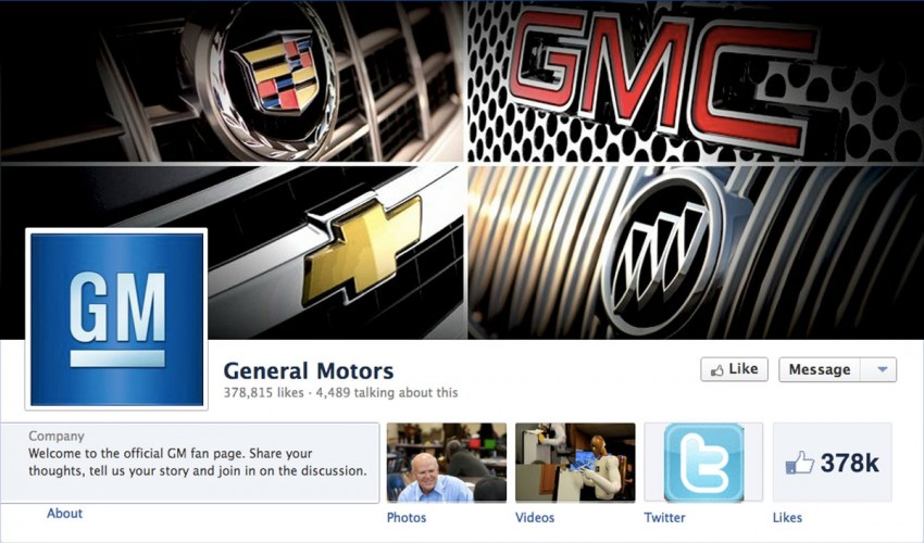 General Motors cuts Facebook ads but adds content Image #106948