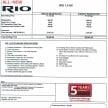 Rio SX pricelist