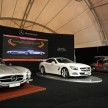 The all new 2013 Mercedes-Benz SL Roadster  between His Royal Highness 1957 Mercedes-Benz 300SL Gullwing and 1960 300SL Roadster