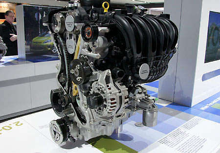 Ford 2 0L DI Ti-VCT engine on display