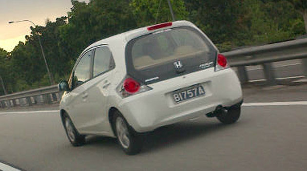 White Honda Brio sighted in Malaysia, with trade plates belonging to Perodua!