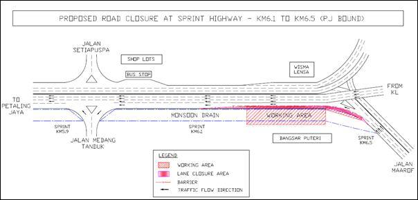 MRT: Slow lane on SPRINT stretch closed for a week