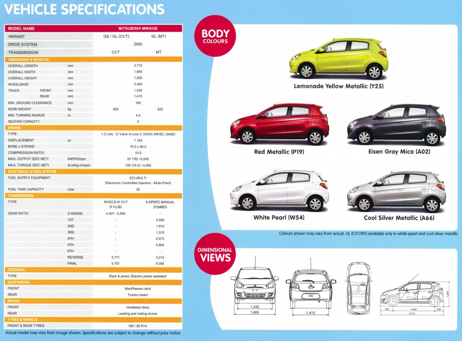 2013 Mitsubishi Mirage Specs / Specifications and Options (Malaysia) - MirageForum.com