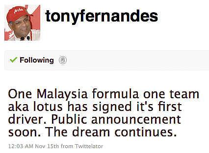 Tony Fernandes Twitter
