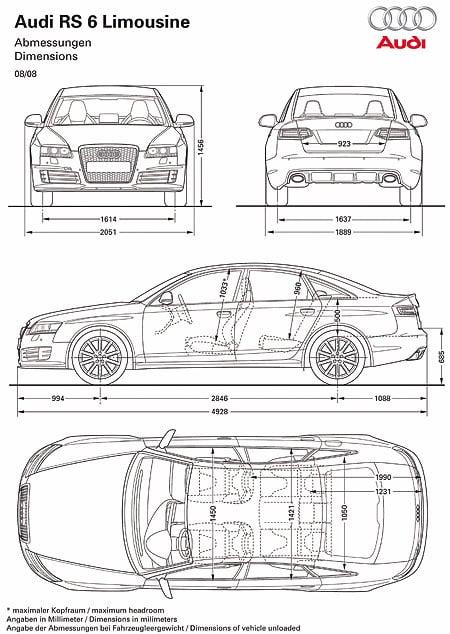 Audi RS6 Sedan Dimensions