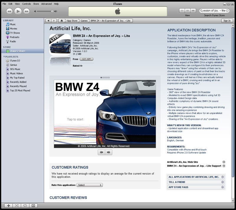 Free Bmw Z4 Game For The Iphone Ipod Touch